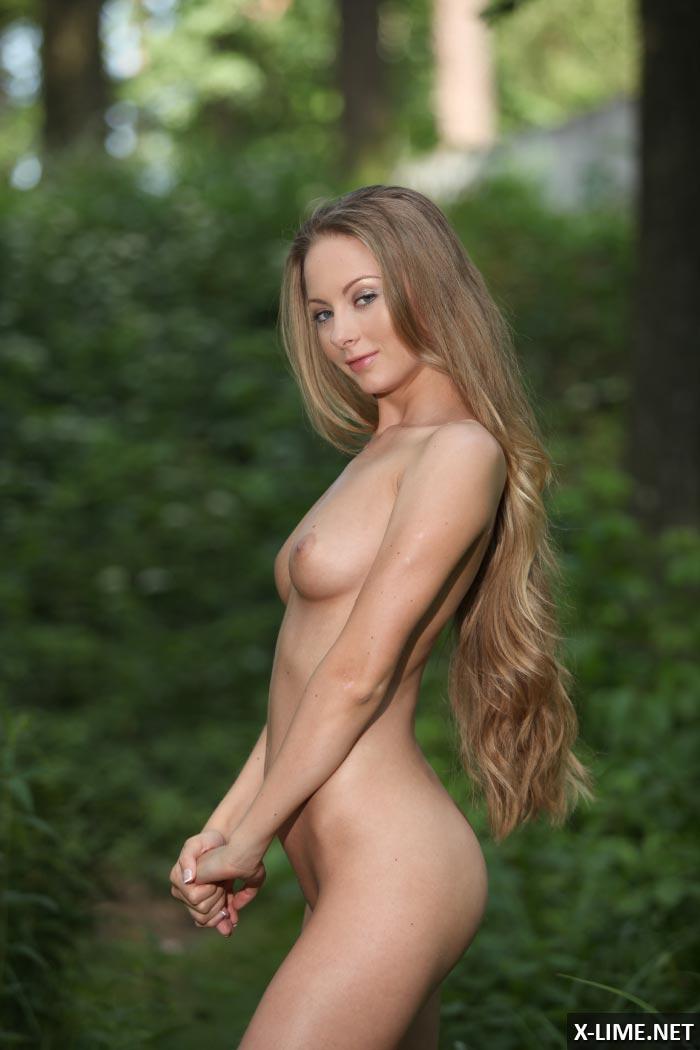 Обнаженная красавица позирует в лесу